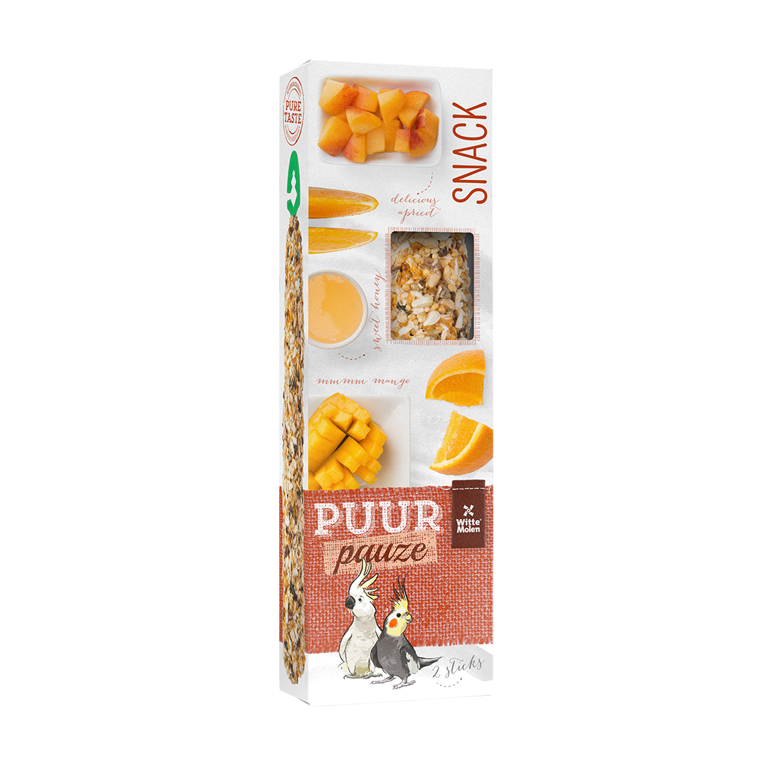 PUUR Pauze Stick Grote Parkiet abrikoos
